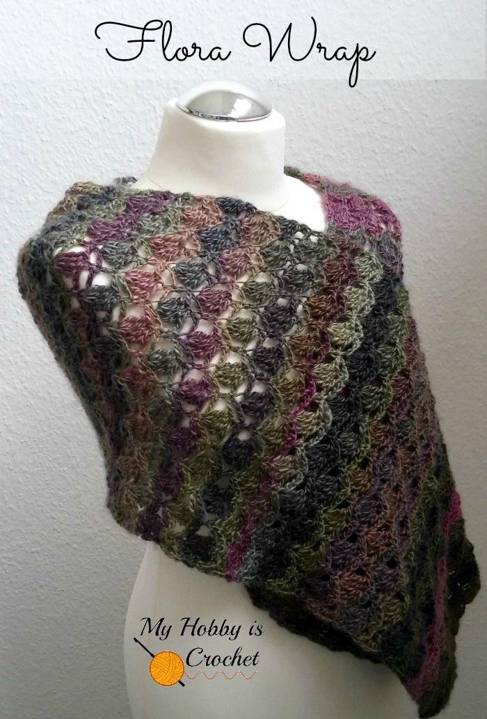 free crochet wrap pattern | scarf | Pinterest | Ponchos y Chal