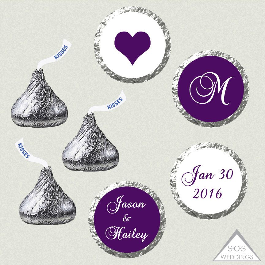 Printable Hershey Kiss Labels Wedding Stickers Eggplant Purple Monogram Kisses