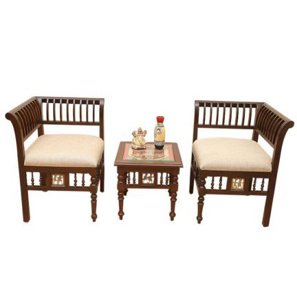 A Set Of Elegant And Stylish Living Room Furniture Consisting A Pair Of L Shaped Chairs With A Sturdy Wooden Table Handc Stylish Living Room Furniture Furniture