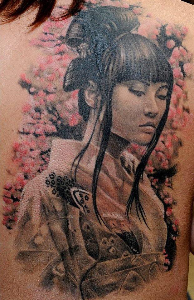 Tender Japanese Girl Realistic Tattoo Diseño Tatuaje