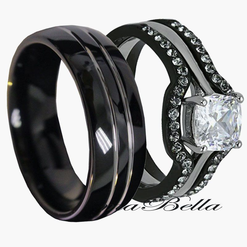 his tungsten hers black stainless steel 4 pc wedding engagement ring band set - Tungsten Wedding Rings