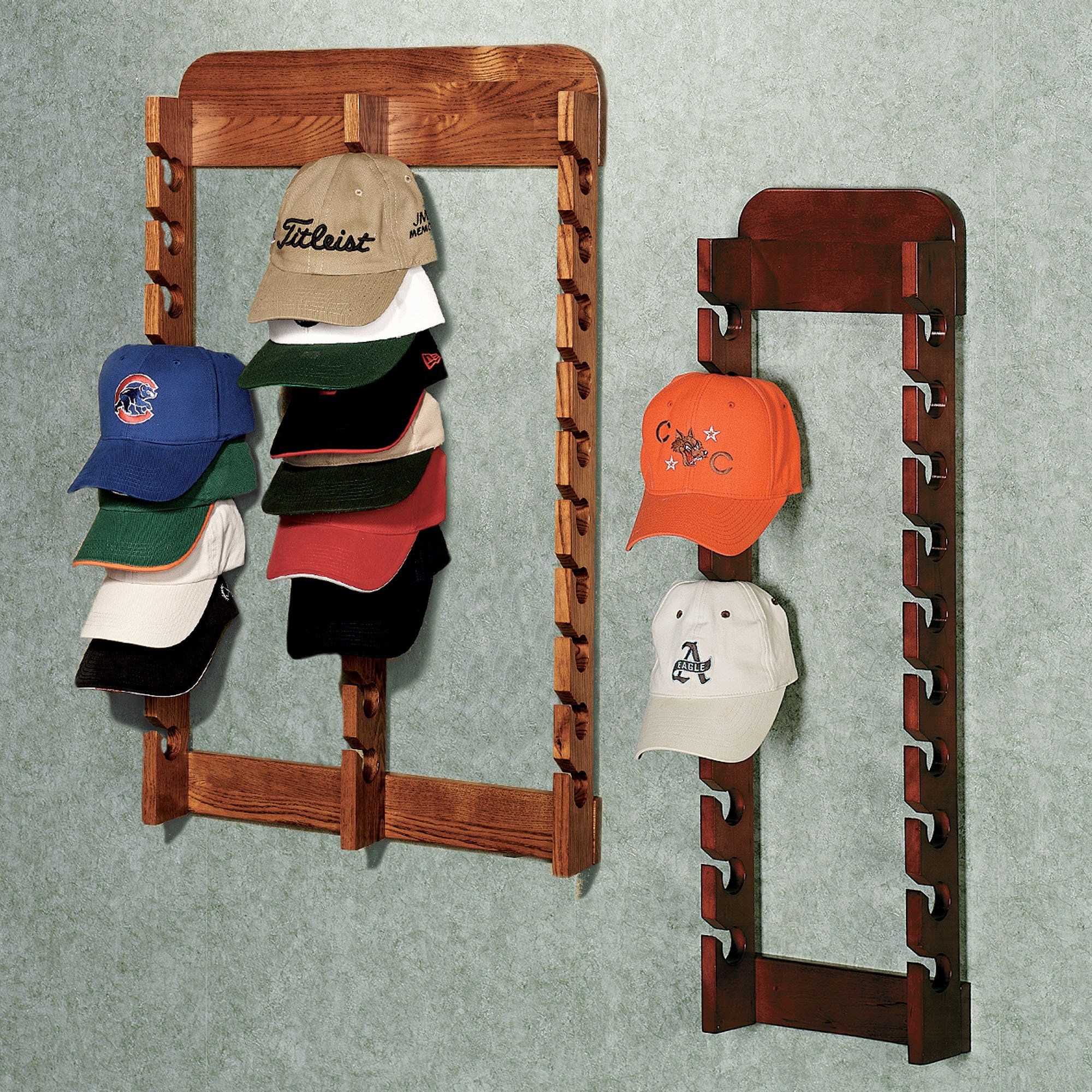 hat cap wall rack to organize all of the hats all over the