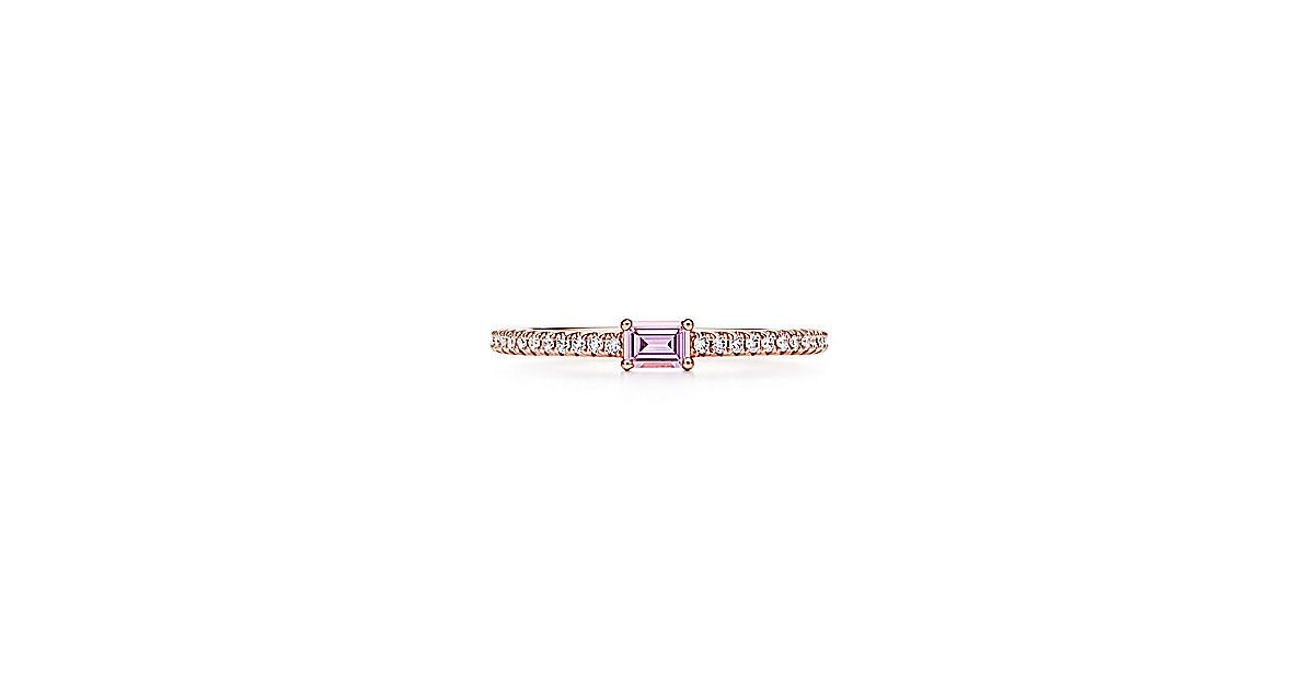 899602dfe Tiffany Novo® Horizon ring in 18k rose gold with a pink sapphire and  diamonds. | Tiffany & Co.