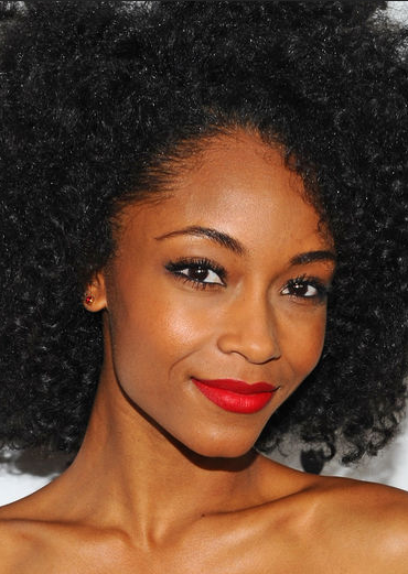 Black Curly Hair Red Lipstick
