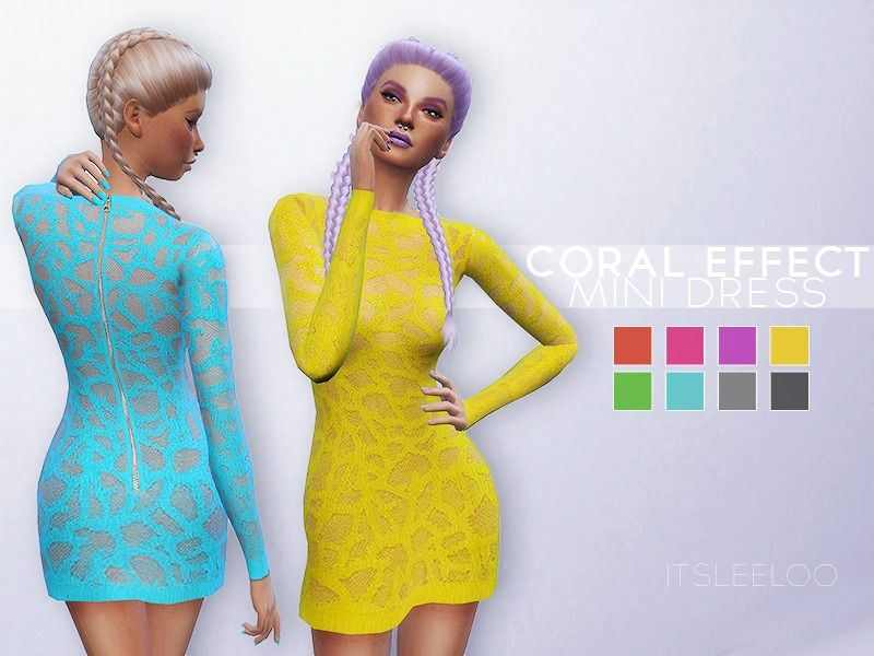 #Sims4 #S4Women | itsleeloo's Short dress with coral effect.