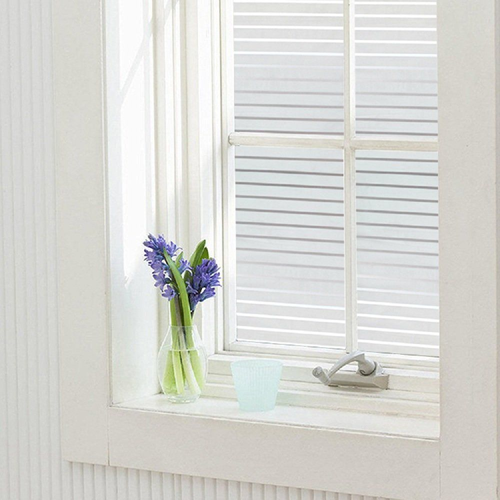 Window privacy ideas  zanbringe white stripes nonadhesive frosted privacy glass window