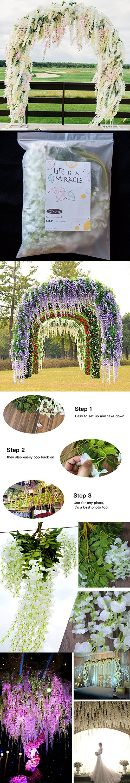 Feet Artificial Wisteria Vine Ratta Silk Hanging Flower for