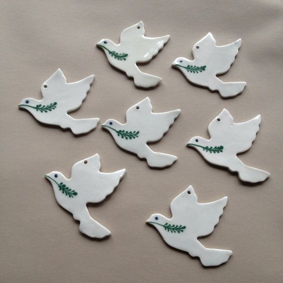 Made To Order 25 Peace Dove Ornaments Porcelain Hospice Dove
