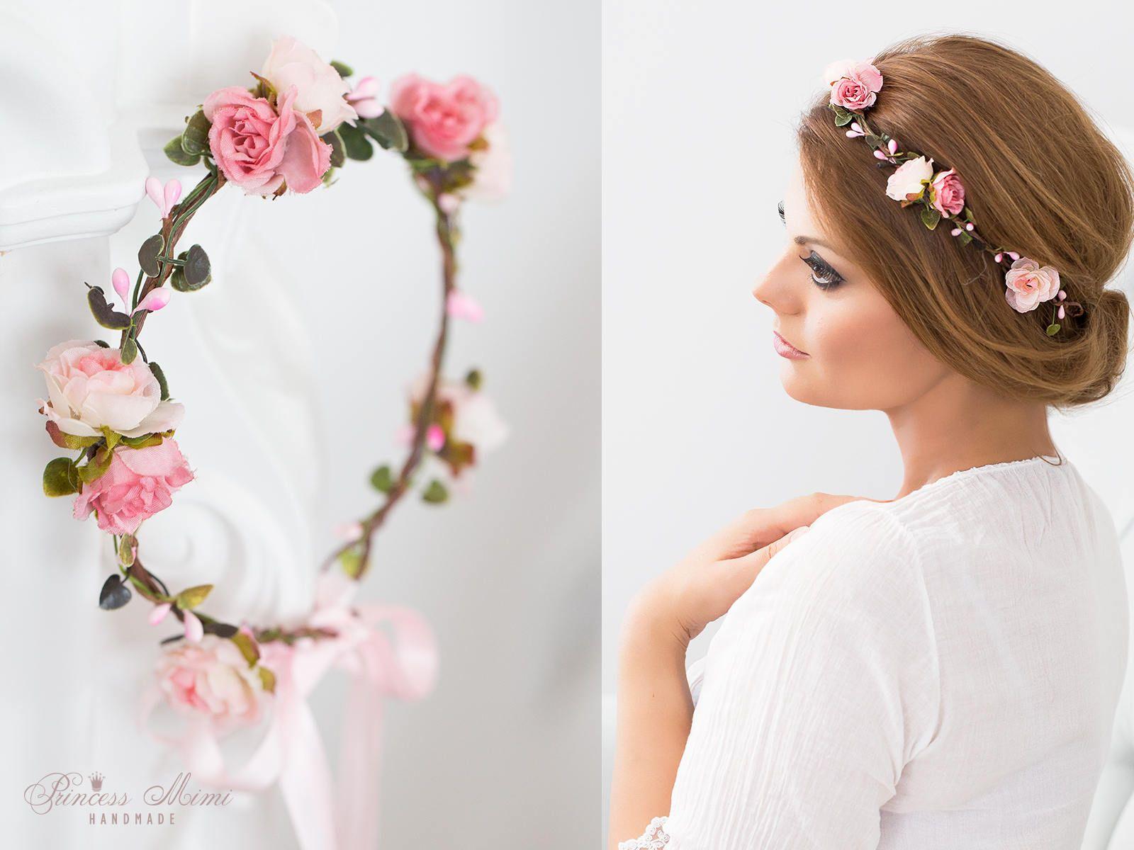 Haarband Kopfband Blumenkrone Kopfschmuck Haarschmuck Blume Kranz Rosen Blüte