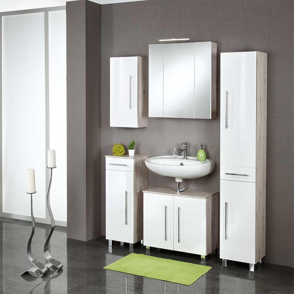 Badezimmer Graue Fliesen Und: Badezimmermöbel Set In Weiß Hochglanz Eiche Grau (5-teilig