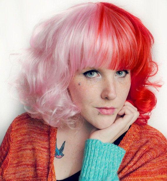 Sale Red Wig Pink Wig Split Color Wig Scene Wig By Missvioletlace