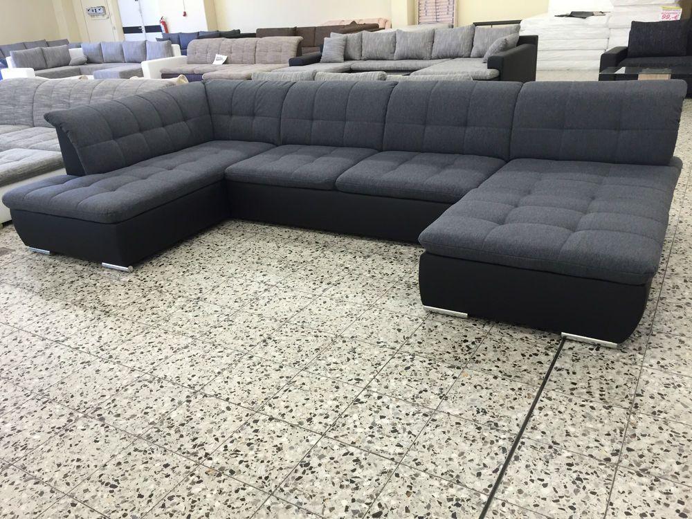 Neu U Wohnlandschaft Sofa Couch Wohnzimmer Webstoff Leder Imitat Top