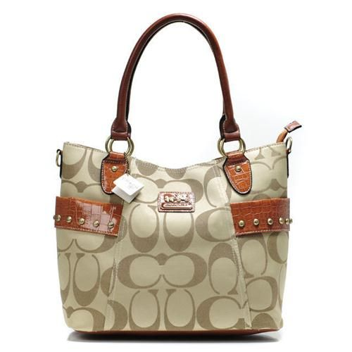 3639f269ea Look Here! Coach Stud In Signature Medium Khaki Totes BXV Outlet ...
