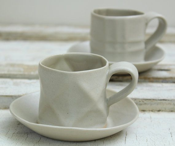 black and white textured espresso cups and by lauriegceramics