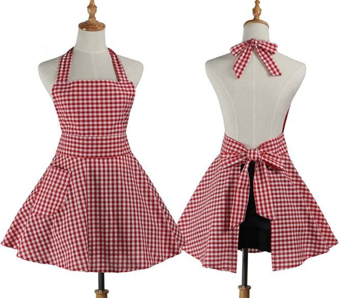 Beau Korean Household Cleaning Kitchen Apron Cooking Retro Plaid Maid .