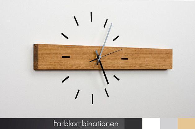 Uhren wanduhr horizont eiche ein designerst ck von design 76 bei dawanda einrichten - Wanduhr modern weiay ...