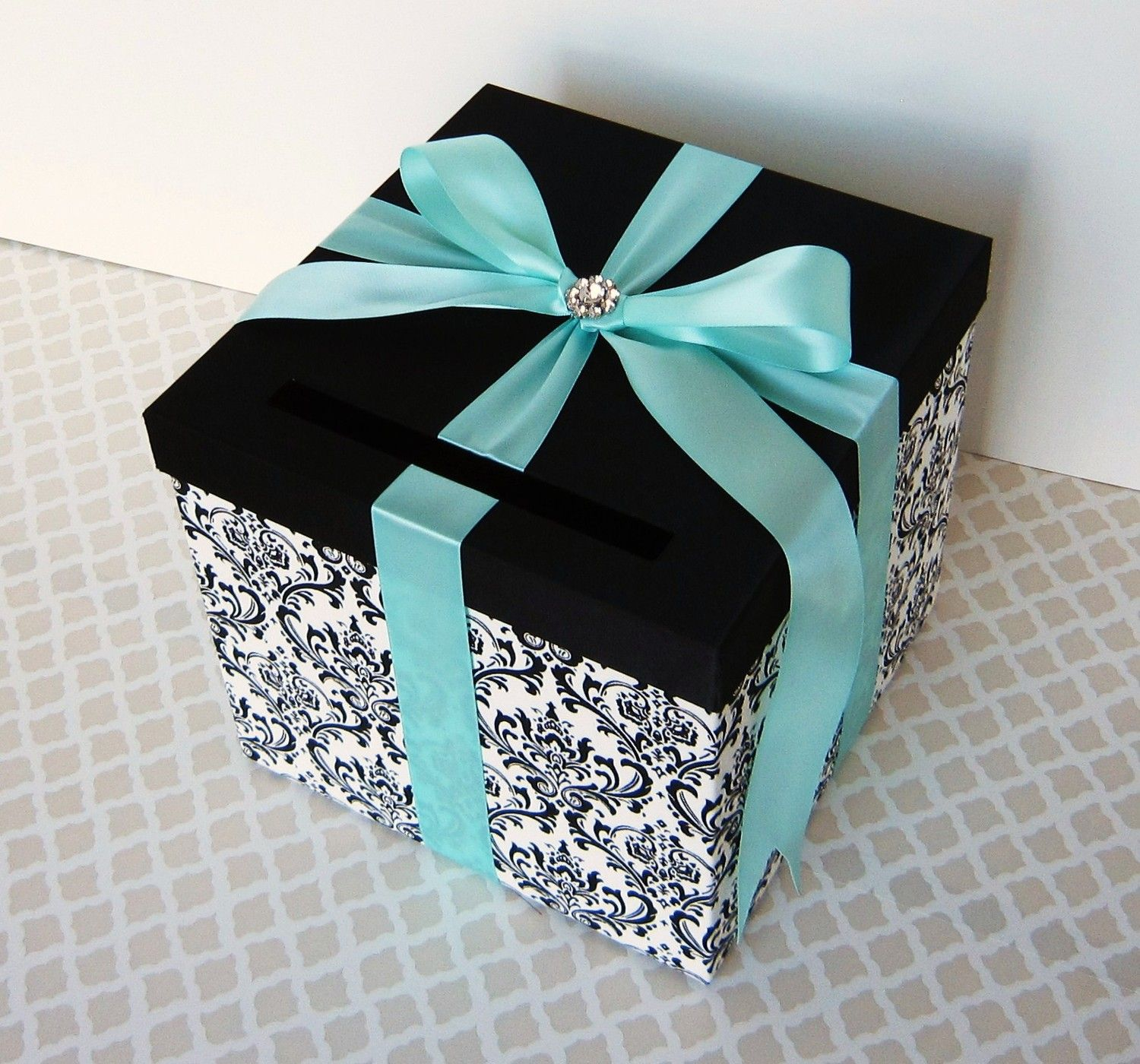 tiffany blue and black wedding decorations%0A Wedding Card Box Damask Black White Tiffany Blue Money Holder Custom Made  ANY Color and Combination