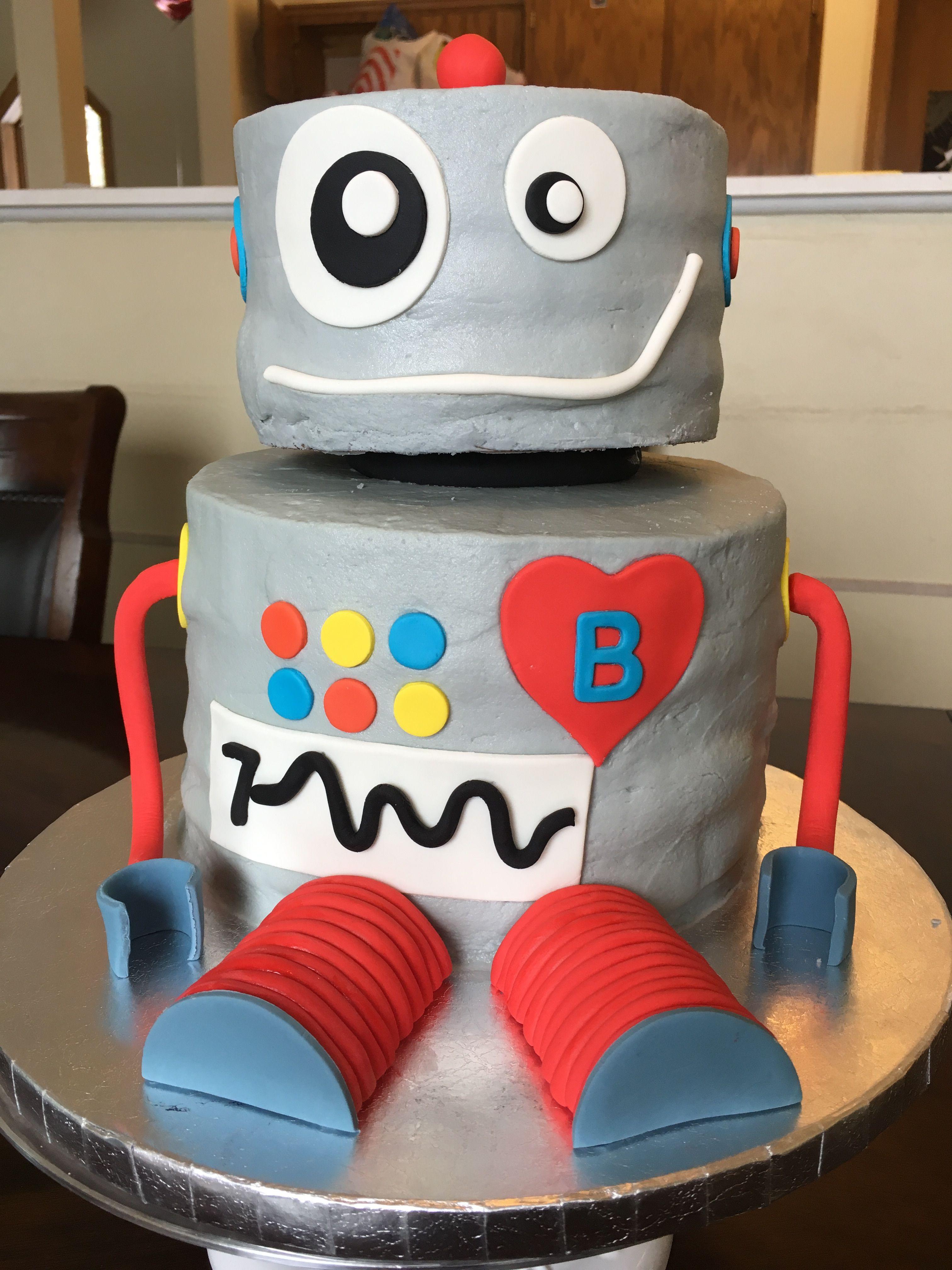 Enjoyable Robot Birthday Cake Boys Birthday Cake With Images Robot Funny Birthday Cards Online Alyptdamsfinfo