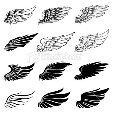 Set Of Twelve Vector Wings The Collection Includes A Simple Form Of Wing Tattoo Designs Wing Tattoo Men Tattoos