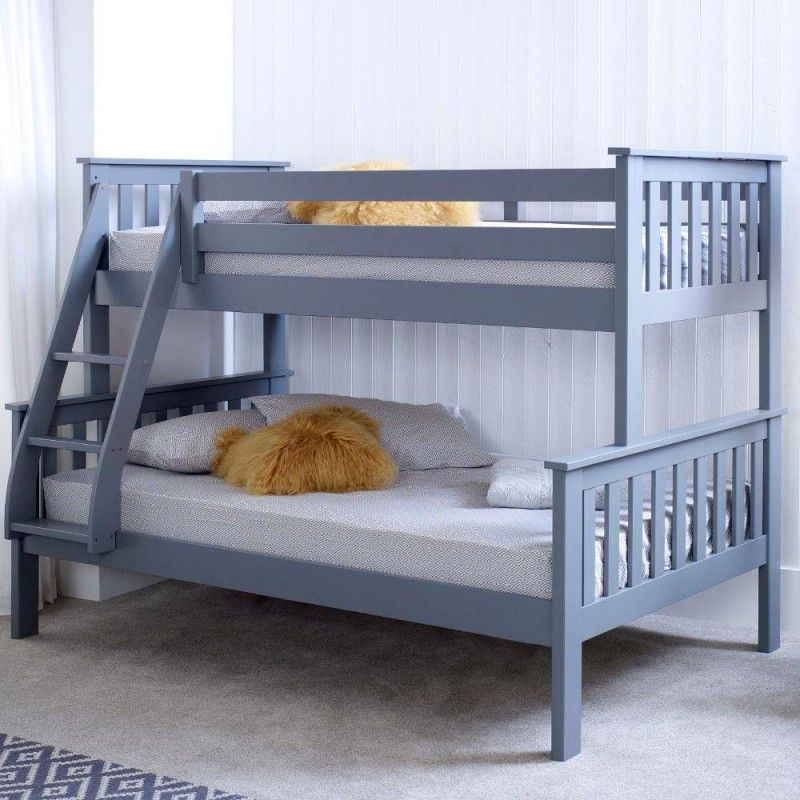 Atlantis Grey Wooden Triple Sleeper Bed Frame - 3ft Single Top and ...