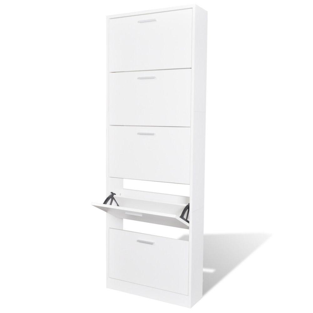 shoe storage hallway furniture. Wooden Shoe Cabinet With 5 Compartments White Finish Storage Hallway Furniture T