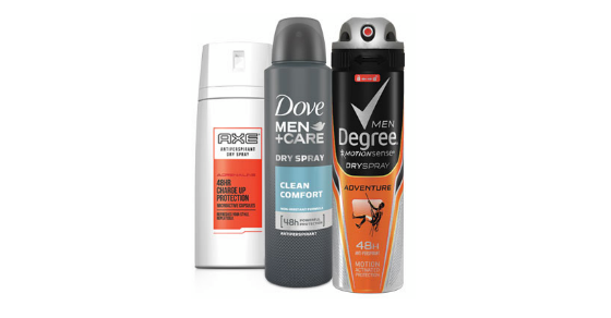 Request a FREE Sample of Axe, Dove, or Degree, Dry Spray! | Freebies