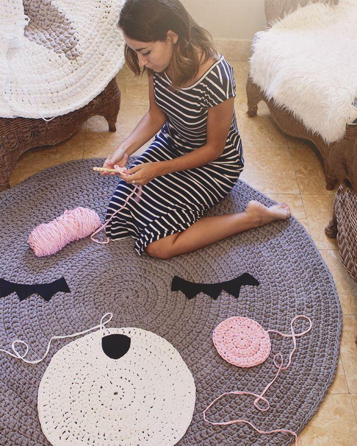 Proceso de alfombra teo de metros de di metro trapillo ganchillo - Alfombras ganchillo trapillo ...