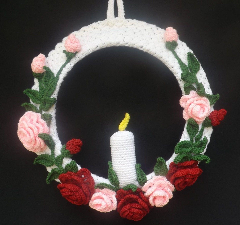 Photo of Crochet Wreath Candle and Roses – Home & Living – Home Decor – Wall Hanger – Door Hanger – Handmade Decor