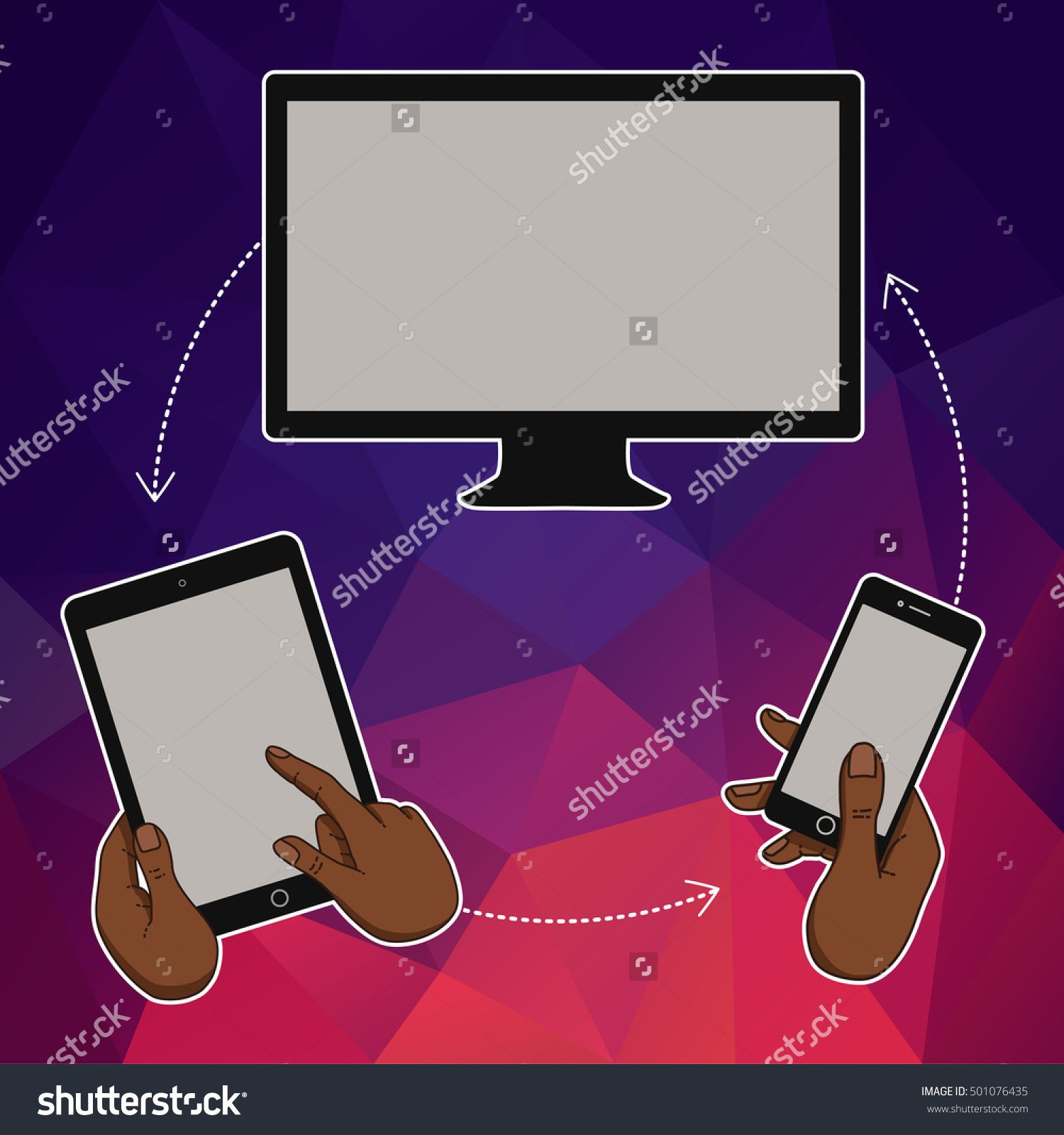 Hand Keeps Mobile Phone, Tablet. Internet Cloud Trends And Network In Mobile Smartphone. Vector Template Of Cloud Service And Technology Network. Mobile Phone And Tablet In Hands. Cloud Technologic - 501076435 : Shutterstock