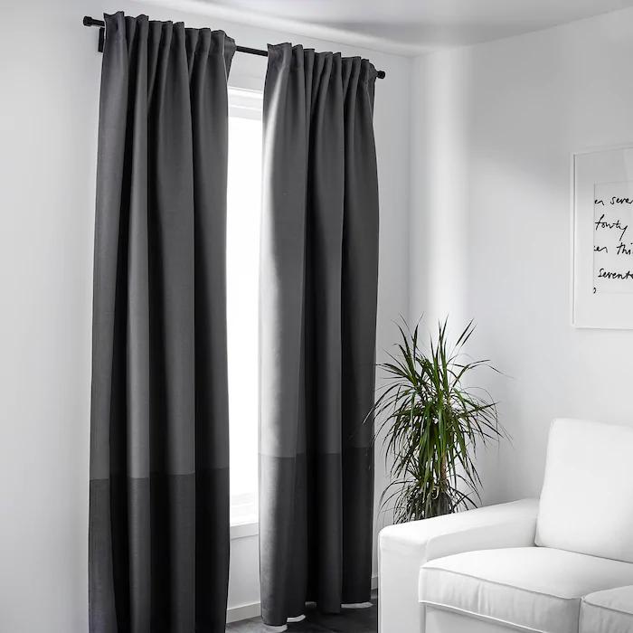 "MARJUN Blackout curtains, 1 pair, gray, 57x98"" IKEA in"