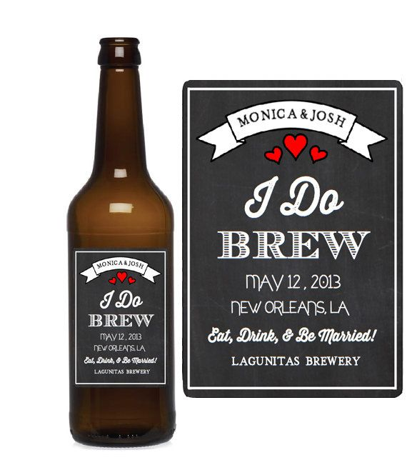 Custom Beer Labels I Do Brew Chalkboard Wedding Favors Bottle On