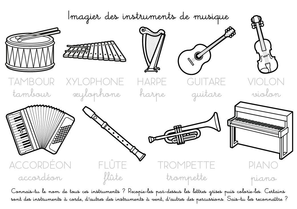 Coloriage à imprimer : Imagier des instruments de musique