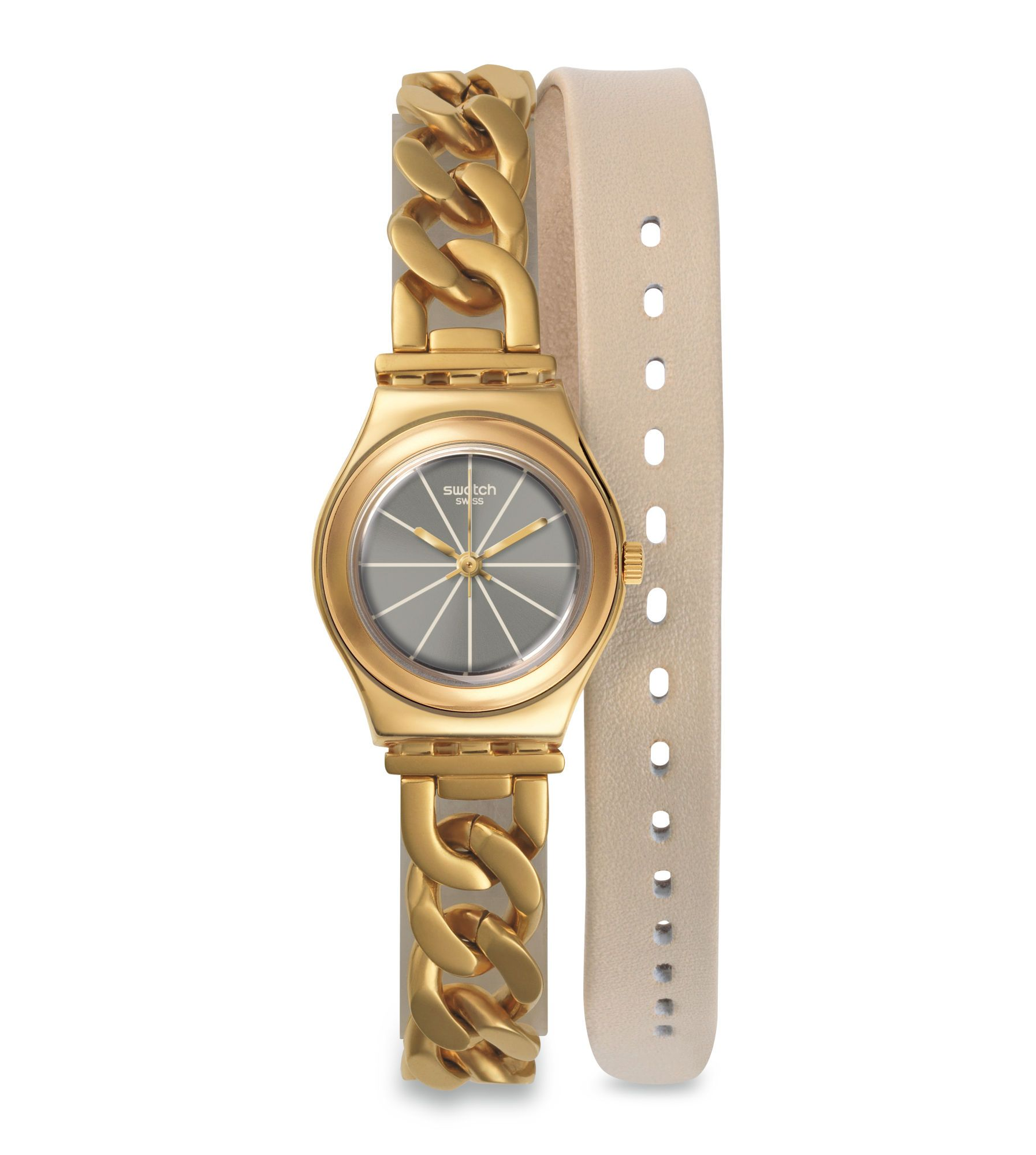 womens watches leather tone women watch switch s jewelry swatch product today gold free overstock goldenall shipping