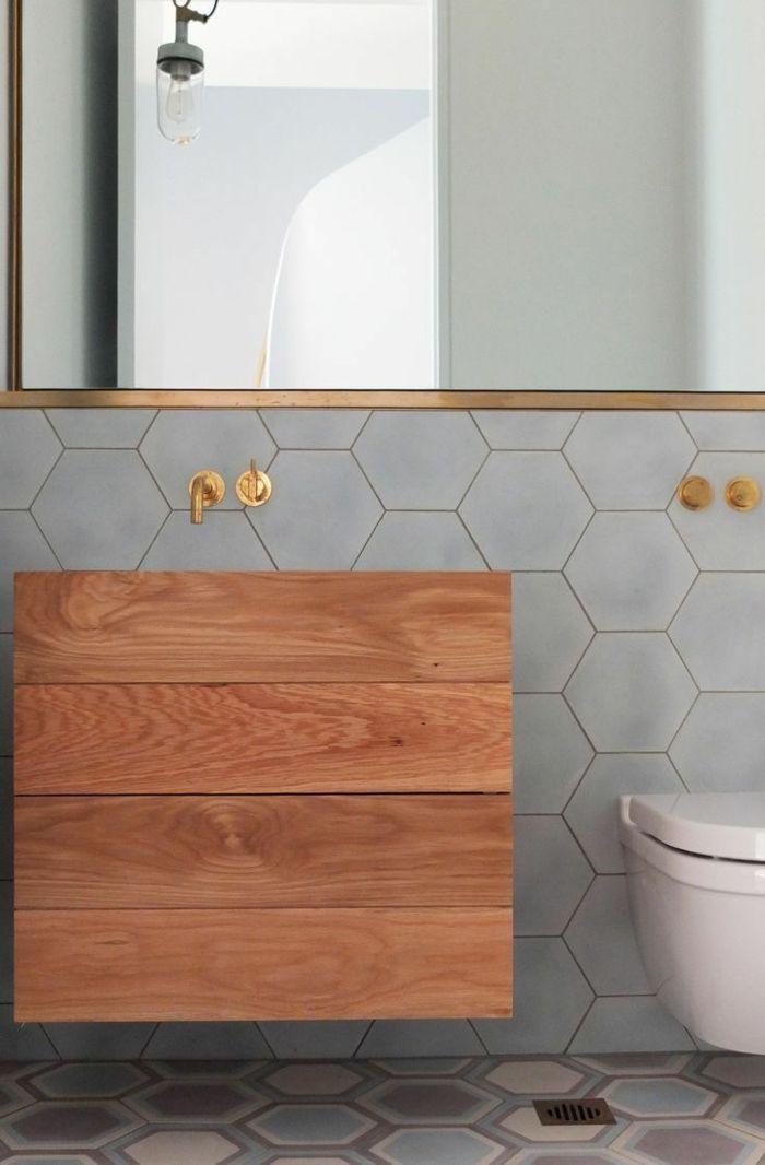 Badefliesen Fliesendesign Hexagon Waschbeckenunterschrank Wandspiegel