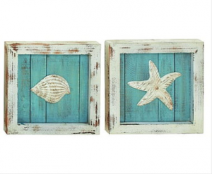 Beach Pictures Tropical Shells Starfish Chair Wall Hanging Nautical Plaques