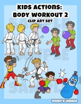 Kids Clip Art Body Workout 2 Exercise Martial Arts Actions Kids Clipart Martial Arts Fitness Body