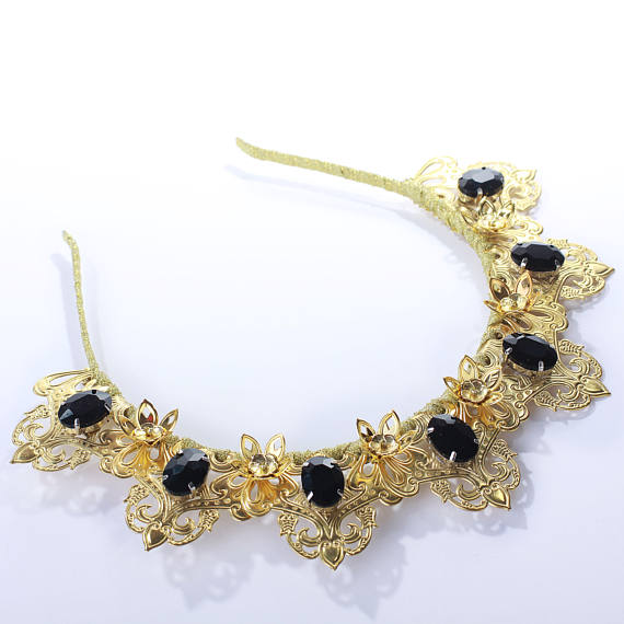 Filigree Gold Wedding Crystals Metal Crown Wedding Tiara Rhinestones renaissance Diadem Bridal medieval crown jewels swarovski jewelry  Fantastic hair accessories for weddings, prom, parties or other special occasions.  - Handmade - Size: 6cm (2.3) high. - Tiara (open front the back) flexible. - **100% FULL MONEY BACK GUARANTEE** Unlike others sellers, WE STAND behind our brand ILoveCrowns and provide 100% FULL MONEY BACK guarantee, if, For Whatever Reason, You dont Absolutly Love your…