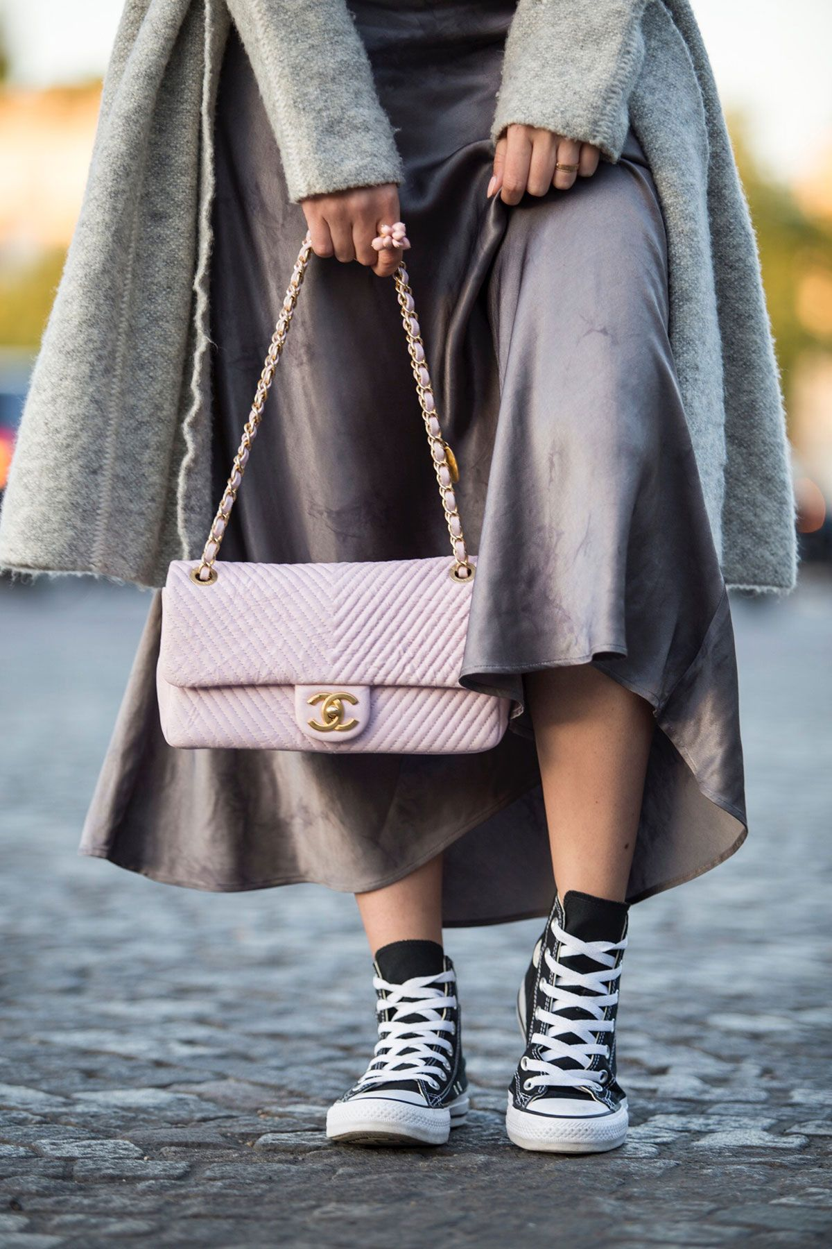 a94925a41982 Pink Chanel Chevron Leather bag and all-star Converse sneakers by Stella  Asteria