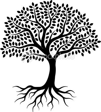 A Simple Graphic Tree Drawn On 3 Layers With Leaves Branches And