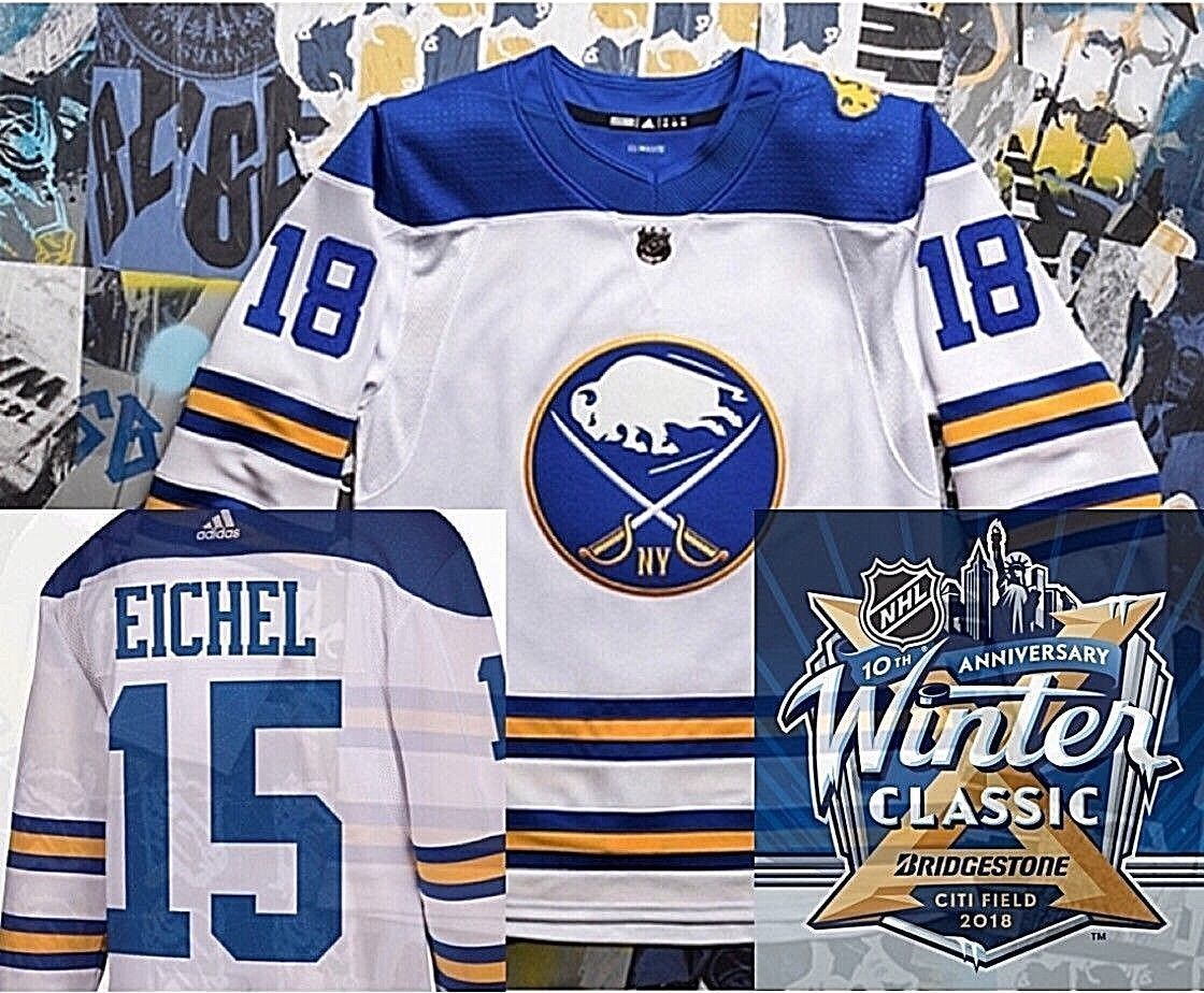 Jack Eichel  15 2018 Buffalo Sabres Winter Classic Authentic New Pro NHL Adidas  Jersey 9bfdd39a5