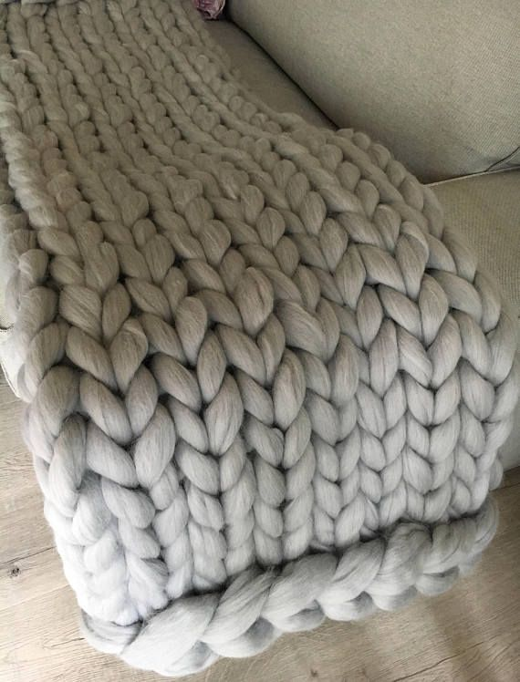 cable knit blanket Hand knit blanket Large cable knitted throw Chunky throw bed  cable knit blanket