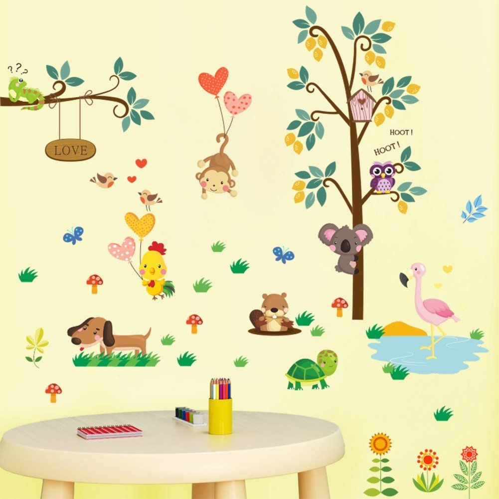 Amaonm Fashion Kids Nursery Room Decals Babys Bedroom Wall Stickers Removable Diy Tree And Wildlife A Kids Room Decals Baby Room Wall Decals Wall Stickers Kids