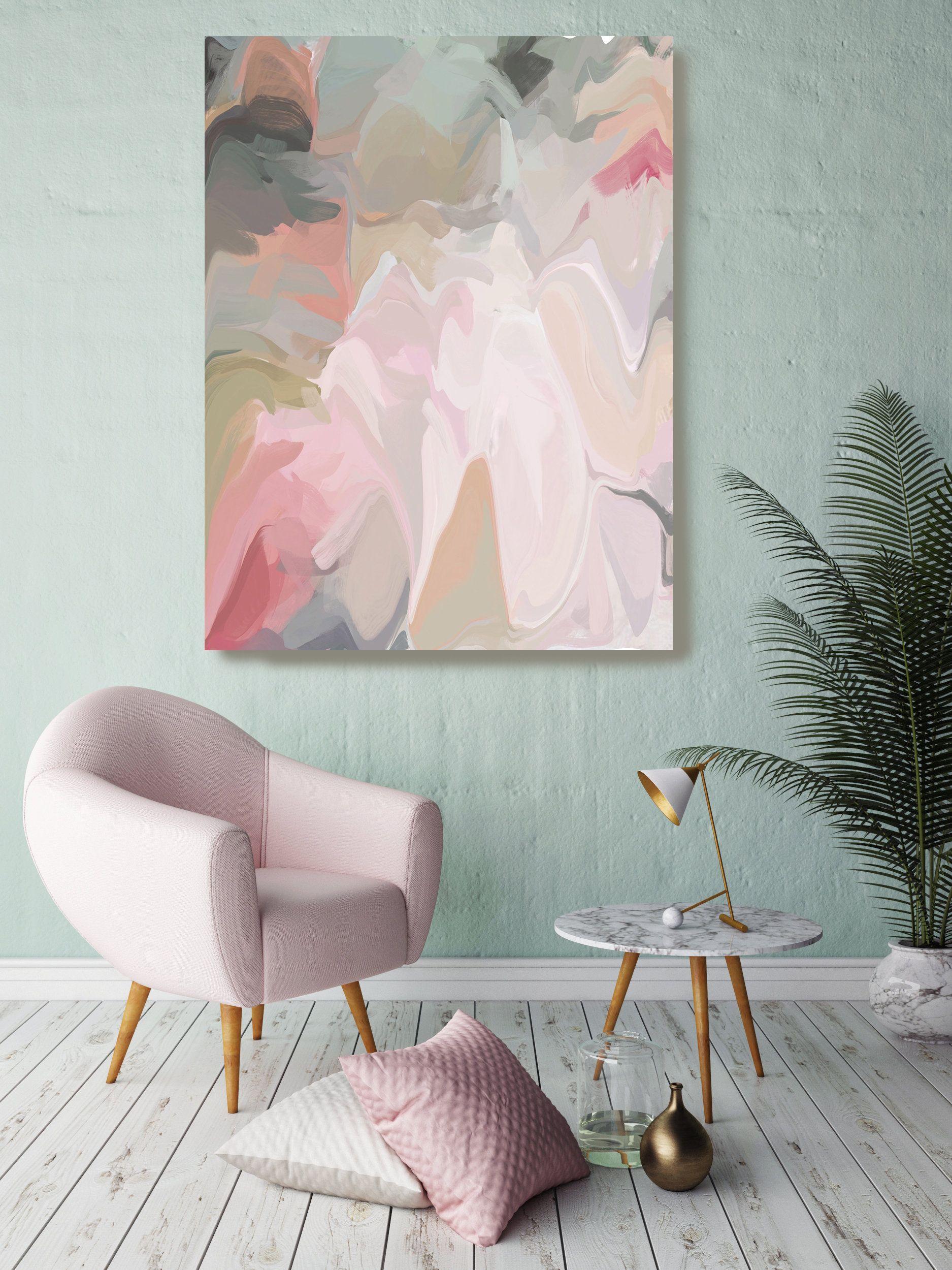 Home Wall Decor Wall Print Printable Modern Abstract Painting Wall Art Pink Green Original Contemporary Art Prints Wall Art Acrylic
