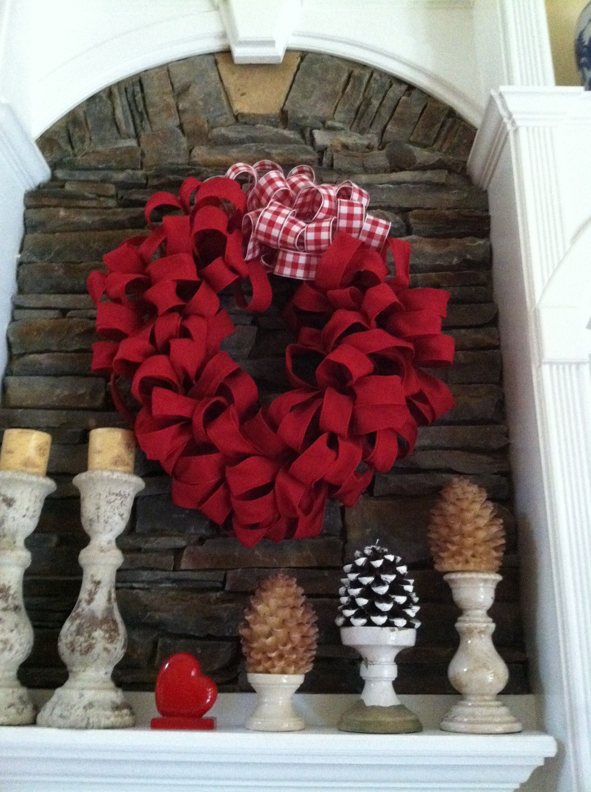 Try Making A Beautiful Red Burlap Wreath This Valentines Day To Hang Above  Your Fireplace Or On Your Front Door In This Picture, Mary