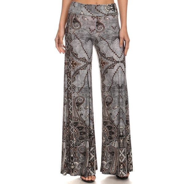 Paisley print, banded, flared pants ($39) ❤ liked on Polyvore featuring pants, flared trousers, paisley print pants, flared pants, flare trousers and spandex pants