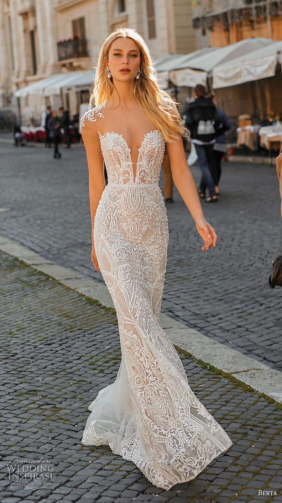 403530fc40c2 berta 2020 privee bridal cap sleeves illusion bateau deep plunging  sweetheart neckline full embellishment elegant fit