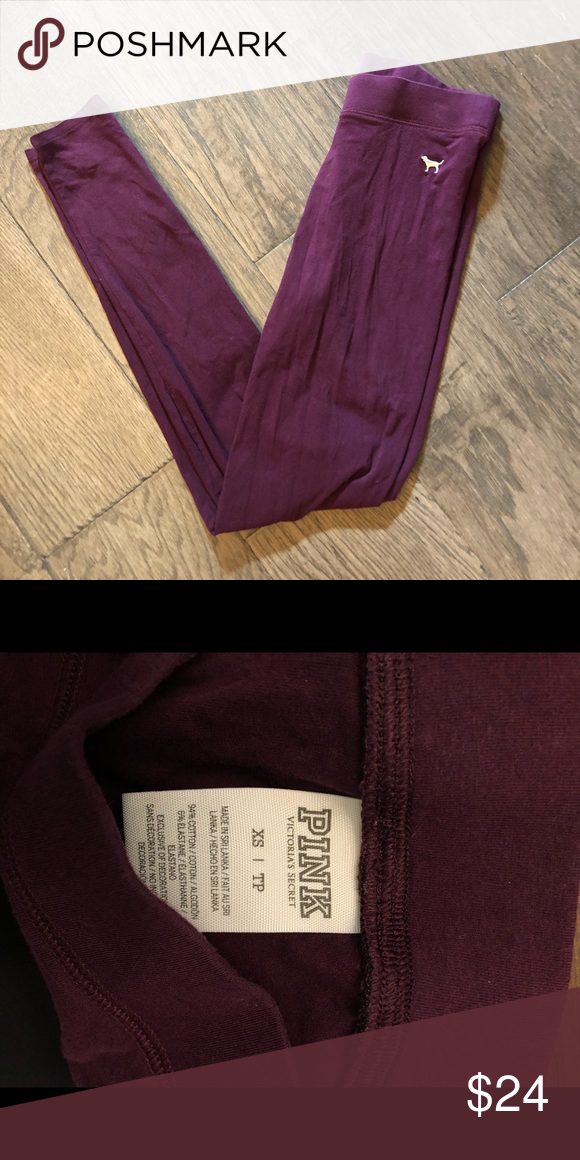 af44506699cf4 Victoria Secret Pink Maroon Leggings New without tags. Washed once ...