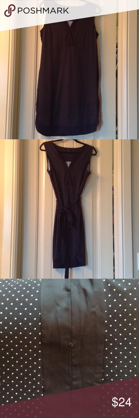 Ann taylor navy dress dark navy and white dots rayon