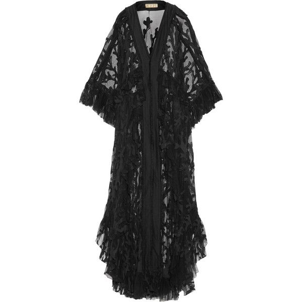 Emilio Pucci - Ruffled Cotton-blend Lace-paneled Mesh Coverup ($1,187) ❤ liked on Polyvore featuring emilio pucci