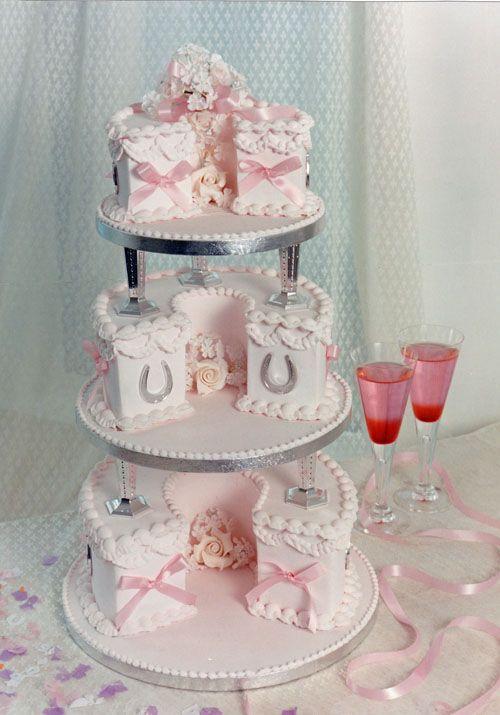 A Traditional Royal Iced Horseshoe Shaped Wedding Cake